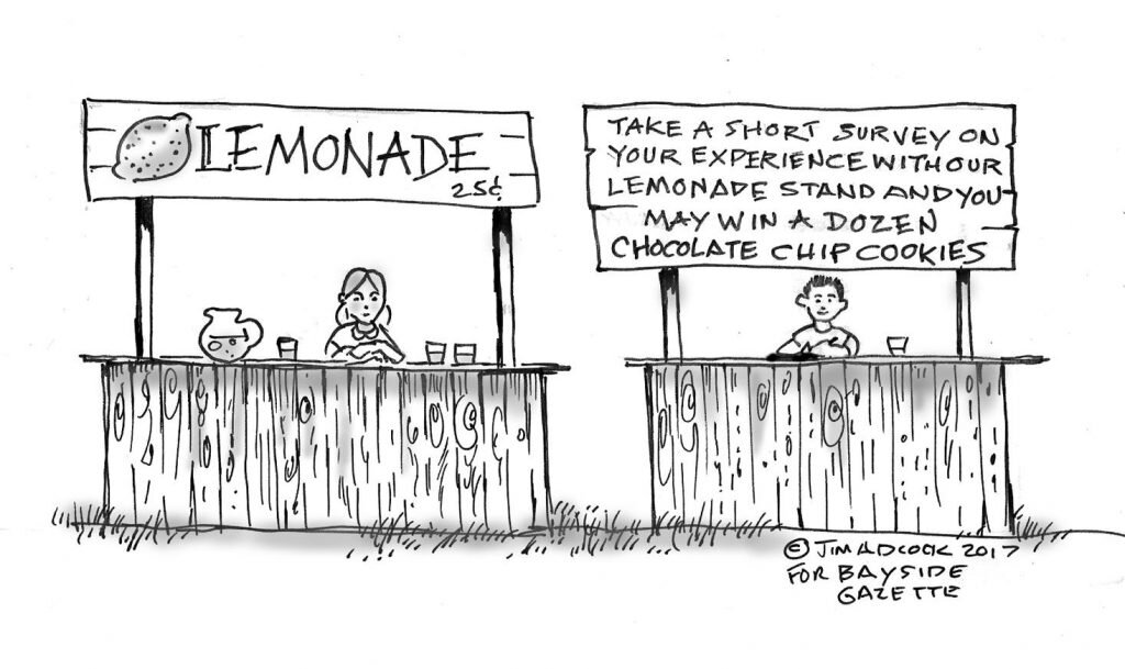 black and white comic of lemonade stand